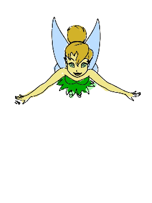 Flying Tinkerbell Coloring Page by years old Lillie M  Tatum