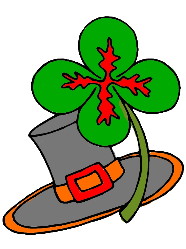 Four Leaf Clover and Traditional Irish Hat Coloring Page by years old Conrad A  Morgan
