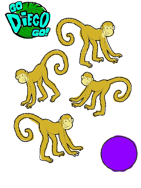Four Monkeys in Go Diego Go Coloring Page by years old Vada J  Watson
