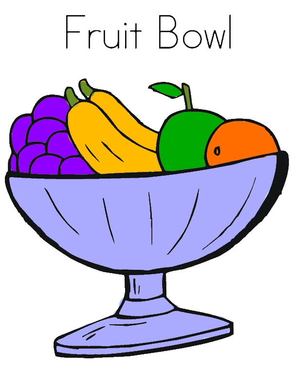 Fruit Bowl Coloring Page by years old Doris R  Roth