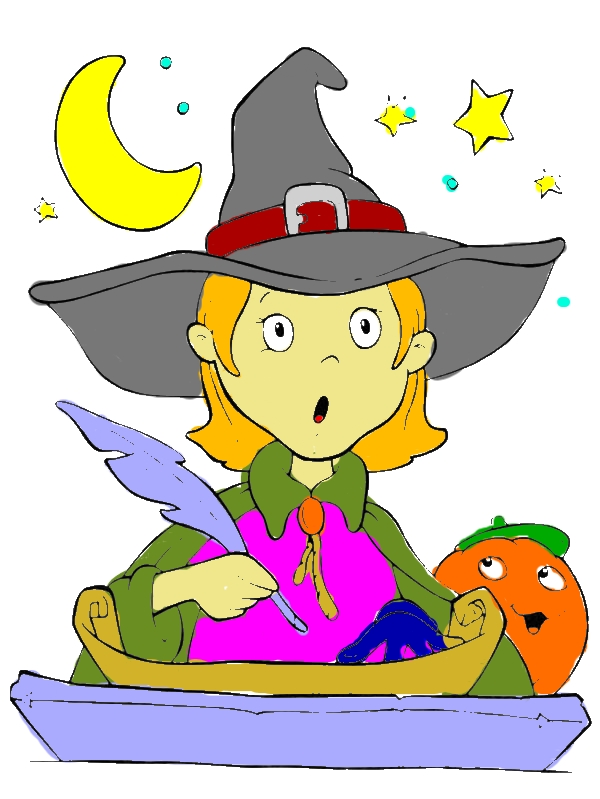 Funny Young Witch is Surprised on Halloween Day Coloring Page by years old Constance S  Elmore