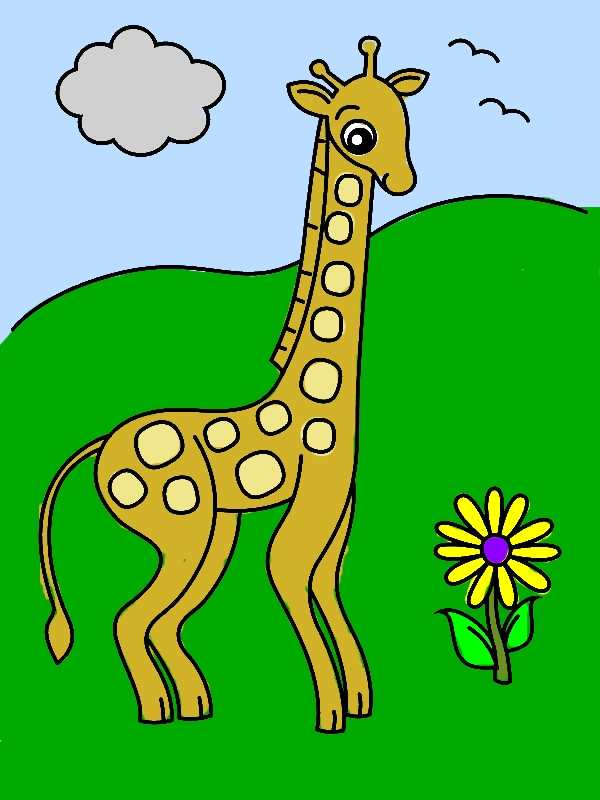 Giraffe and Flower Coloring Page by years old Keith B  Nash