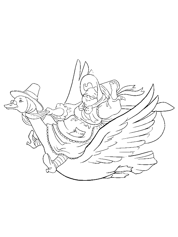 Grandma Riding a Goose Coloring Page by years old