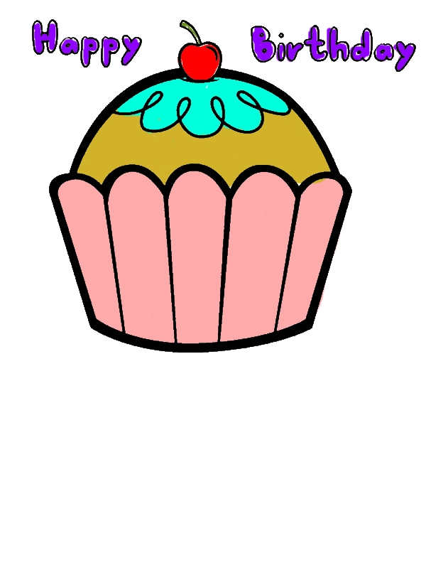 Happy Birthday Cupcakes Coloring Pages by years old Kimberly G  Smith