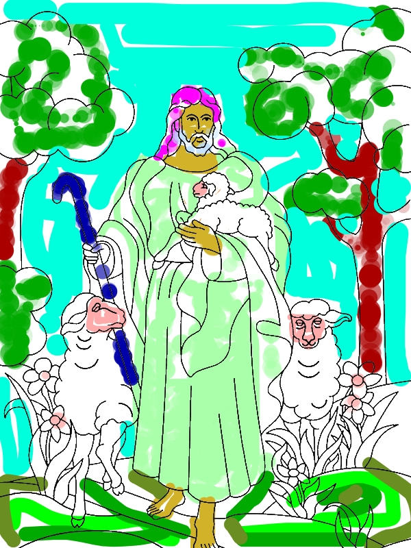 Jesus Resurrection in Heaven with Lambs Coloring Page by 30 years old heather