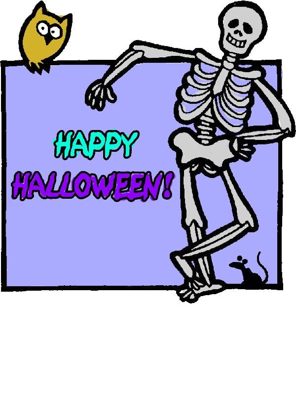 Joyful and Happy Halloween Day Says the Skeleton Coloring Page by years old Rose M  Harvey