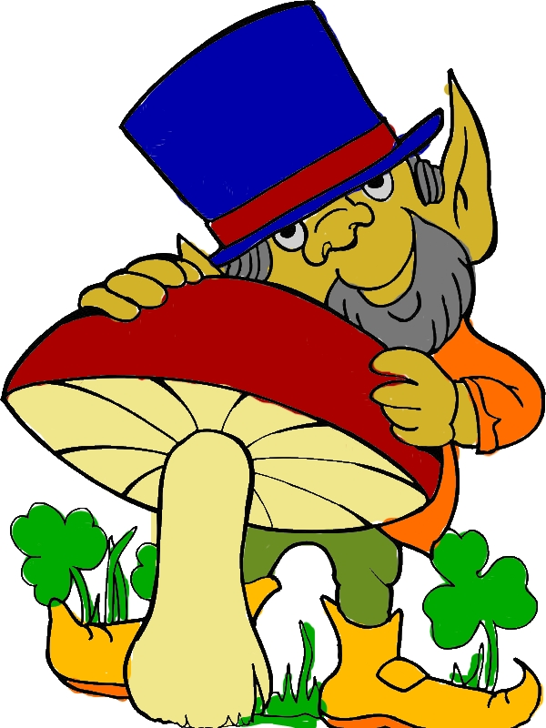 Leprechaun Loves Mushroom for St Patricks Day Coloring Page by years old Frank E  Sepulveda