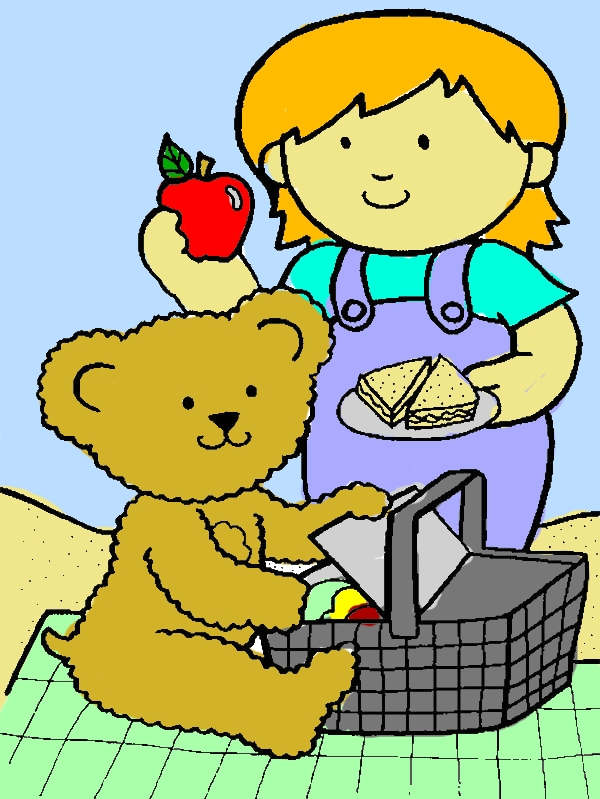 Little Girl Going Picnic with Her Teddy Bear Coloring Page by years old Mary R  Shires
