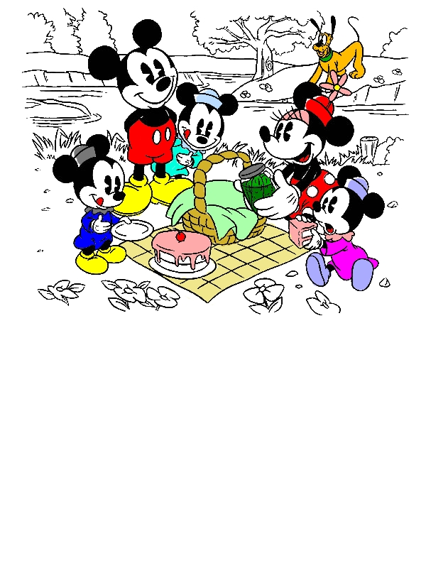 Mickey and Minnie Mouse Family Picnic Coloring Pages by years old yuriancheta