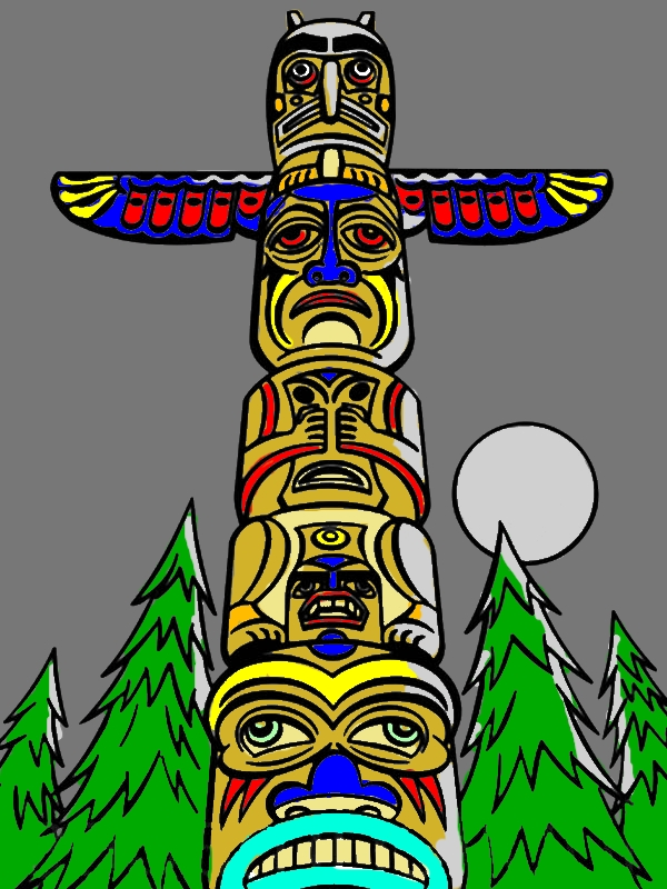 Monumental Totem Poles Coloring Page by years old Raymond I  Carter