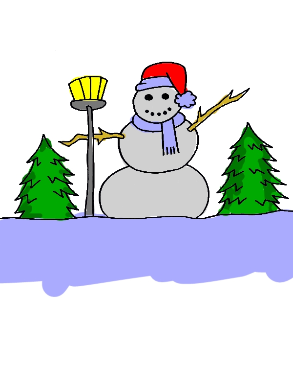 Mr Snowman on the Field During Winter Season Coloring Page by years old Marcia C  Ainsworth