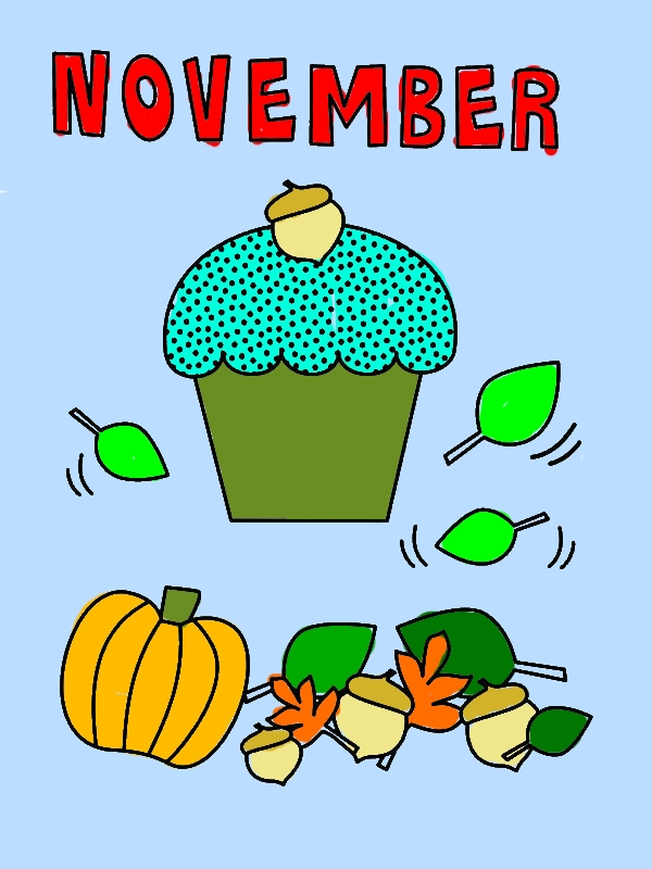 November Cupcake Coloring Page by years old Maureen B  Fisher