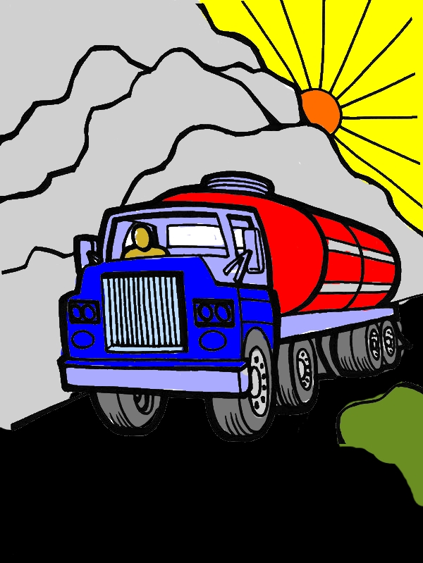 Oil Carrier Semi Truck Coloring Page by years old Sheila W  Grantham