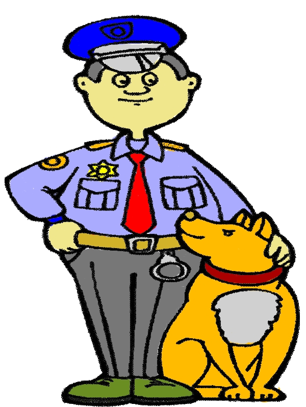 Police Officer and His Dog Coloring Page by years old Daniel J  McIntyre