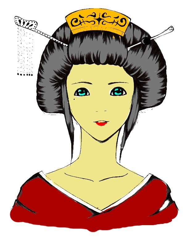 Sketch of a Geisha Coloring Page by years old Adrienne B  Yerkes