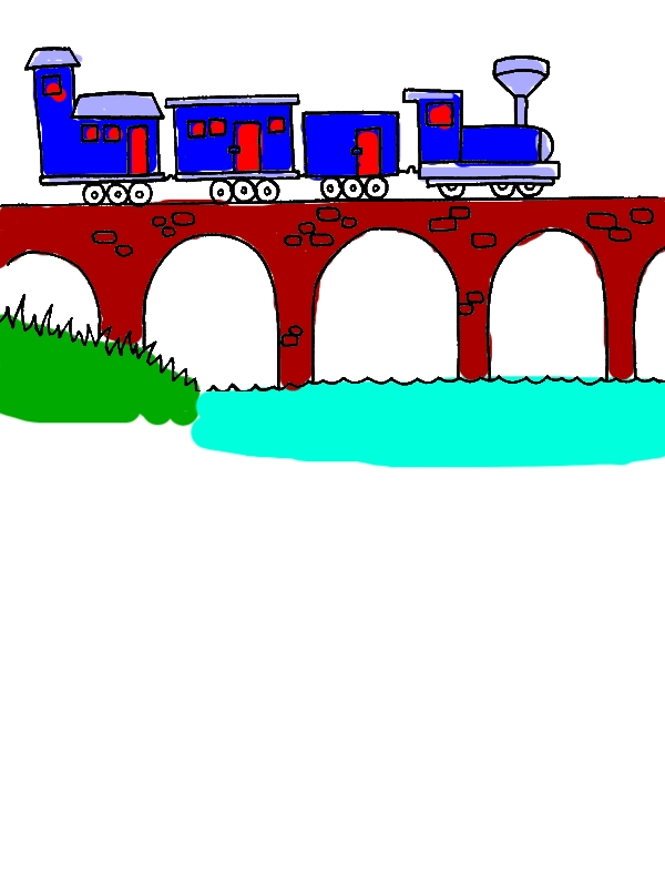 Steam Train Passing the Bridge Coloring Page by years old Rachael C  Spellman