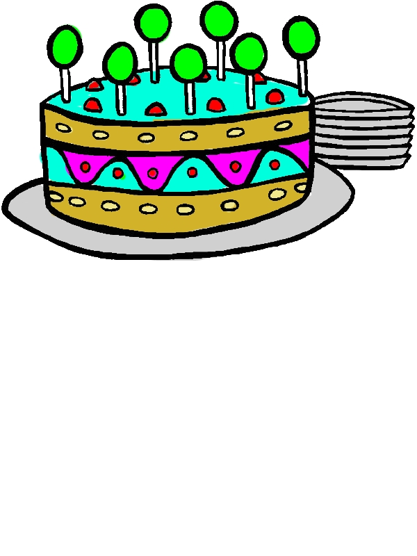 Sweet Lollipop on Birthday Cake Coloring Pages by years old Mary E  Catlin