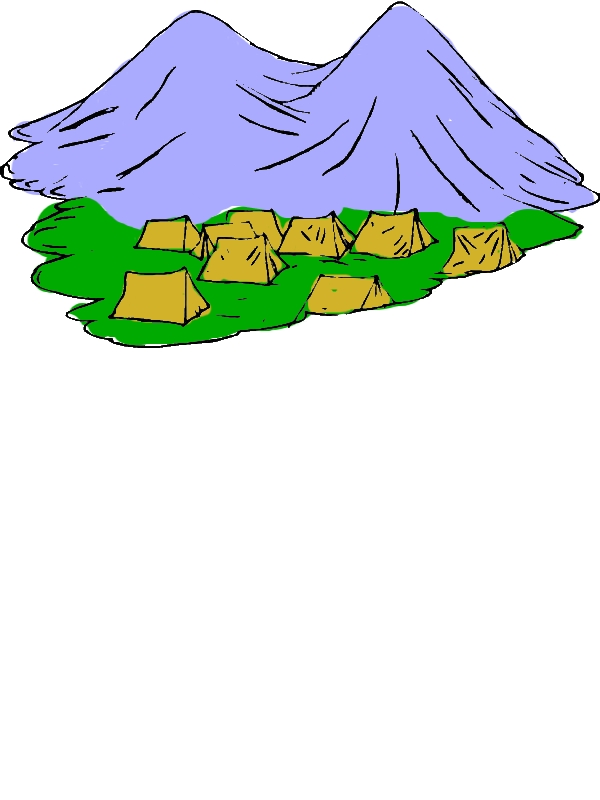 Tents Under Active Volcano Coloring Page by years old Marion M  Taylor