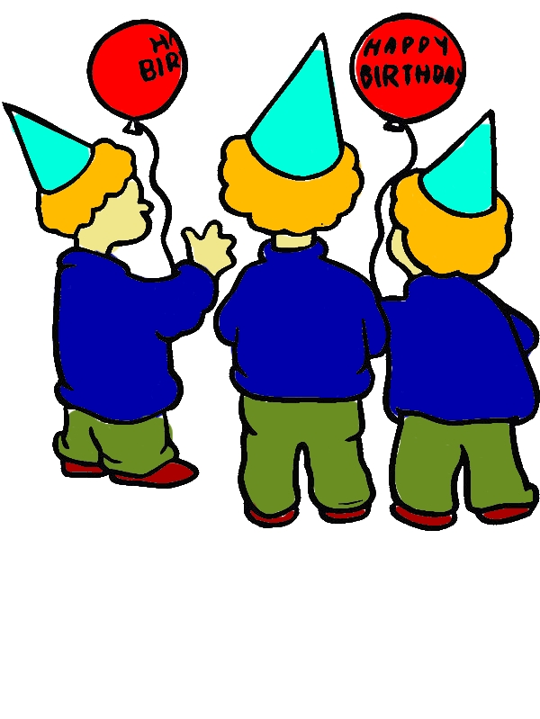 Three Boys Wearing Hat at Birthday Party Coloring Pages by years old Marylee J  Perry