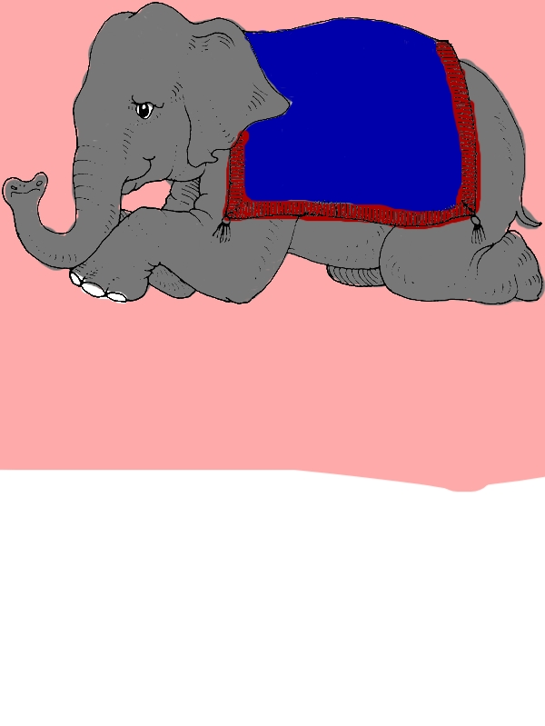 Trained Elephant is Sitting Down Coloring Page by years old Kristin Z  Golden