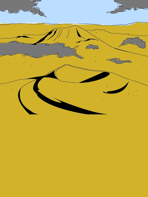 Volcano Landscape Coloring Page by years old Barbara F  Martin