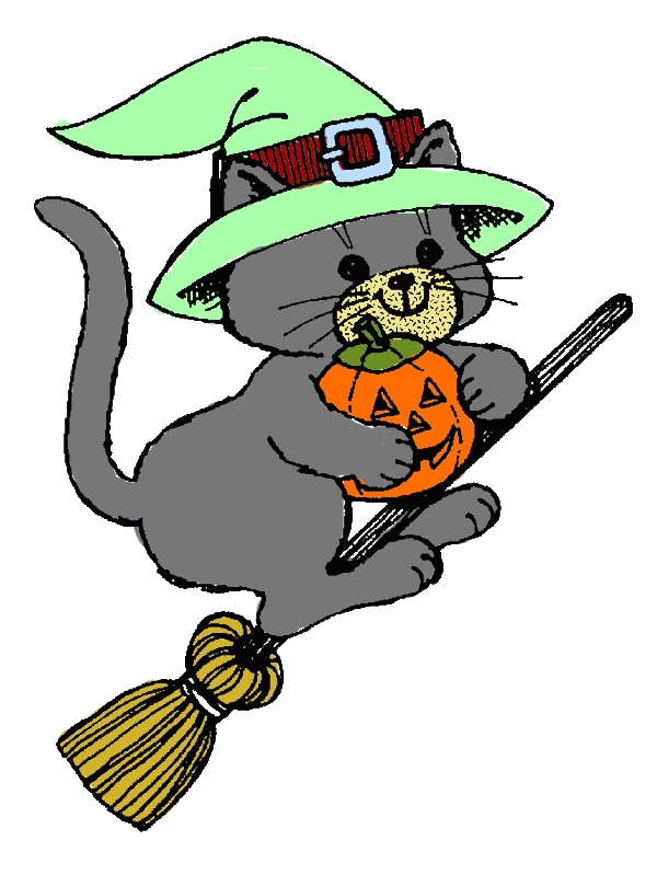 Witch Cat Riding Broomstick on Halloween Day Coloring Page by years old Judith B  Taveras